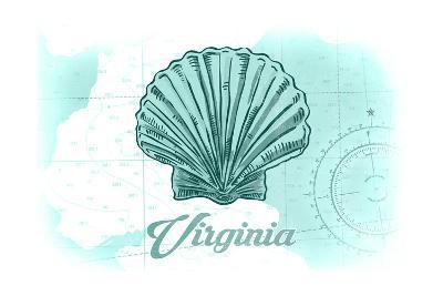 Virginia - Scallop Shell - Teal - Coastal Icon-Lantern Press-Art Print