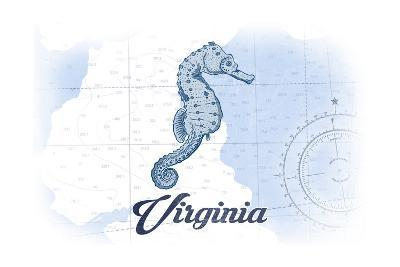 Virginia - Seahorse - Blue - Coastal Icon-Lantern Press-Art Print