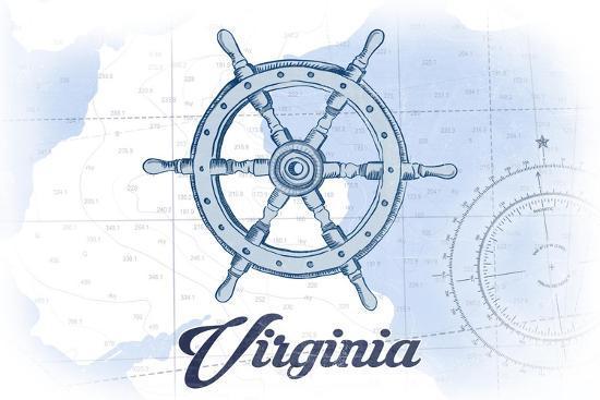 Virginia - Ship Wheel - Blue - Coastal Icon-Lantern Press-Art Print