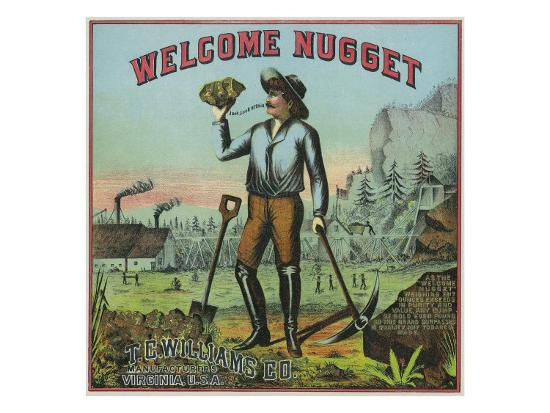 Virginia, Welcome Nugget Brand Tobacco Label-Lantern Press-Art Print