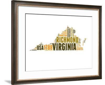 Virginia Word Cloud Map-NaxArt-Framed Art Print