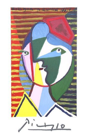 Visage de Femme sur Fond Raye-Pablo Picasso-Premium Edition
