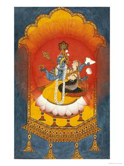 Vishnu and Lakshmi Enthroned, Basohli School circa 1690--Giclee Print