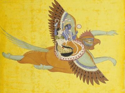 Vishnu and Lakshmi on Garuda Bundi, circa 1700--Giclee Print