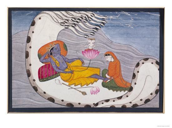Vishnu and Lakshmi on the Serpent of Eternity--Giclee Print
