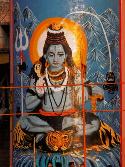 Vishnu Hindu God Mural, India-Dee Ann Pederson-Photographic Print