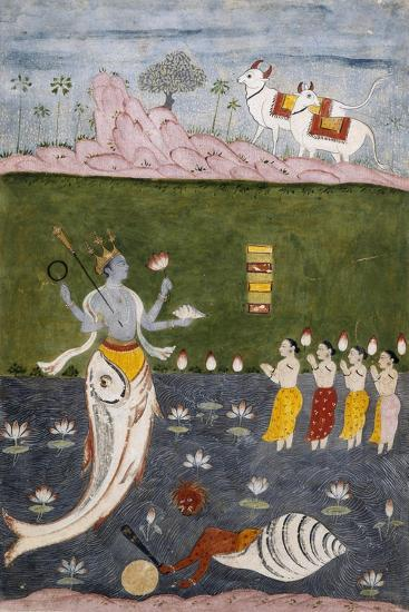 Vishnu in the Guise of a Fish with Four Arms Holding Her Symbols--Giclee Print