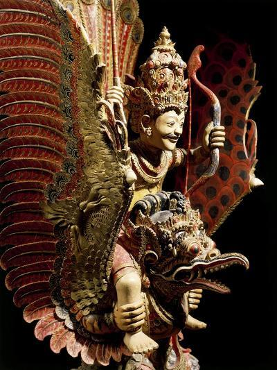 Vishnu on Garuda Eagle, Carved and Painted Wooden Statue, Indonesia--Giclee Print