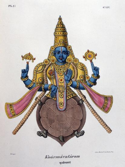 Vishnu, One of the Gods of the Hindu Trinity (Trimurt), 1828--Giclee Print