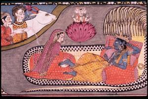 Vishnu Reclining on the Serpent Sesha, Attended by Lakshmi and Watched over by Siva and Parvati,…
