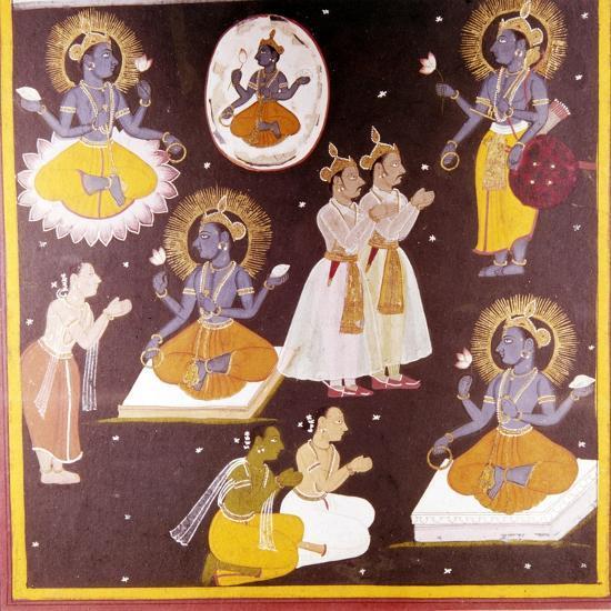 Vishnu worshipped in Five Manifestations, c1690-Unknown-Giclee Print
