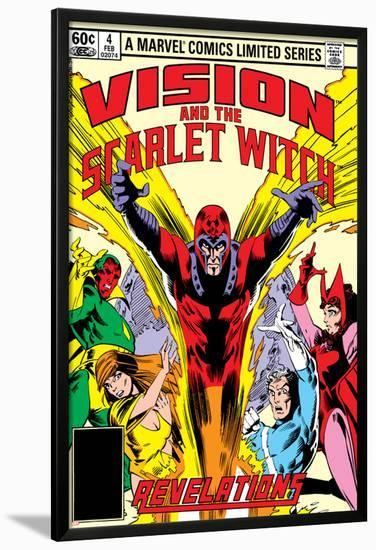 Vision And The Scarlet Witch No.4 Cover: Magneto, Vision, Scarlet Witch, Quicksilver and Crystal-Rick Leonardi-Lamina Framed Poster