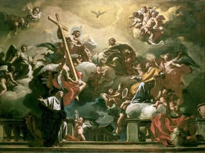 Vision of the Trinity with Ss. Philip Neri and Francesca Romana, 18th Century-Francesco Solimena-Giclee Print