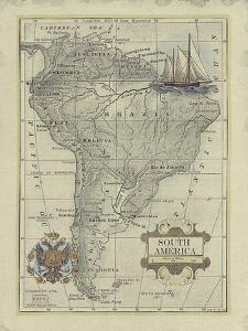 Antique Map of South America by Vision Studio