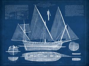 Antique Ship Blueprint III by Vision Studio