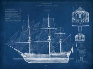 Antique Ship Blueprint IV by Vision Studio