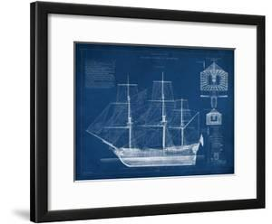 Blueprints framed posters artwork for sale posters and prints at antique ship blueprint iv malvernweather Image collections