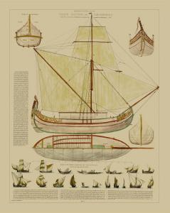 Antique Ship Plan I by Vision Studio