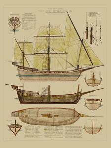 Antique Ship Plan II by Vision Studio
