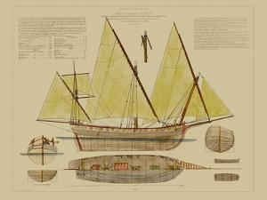 Antique Ship Plan V by Vision Studio