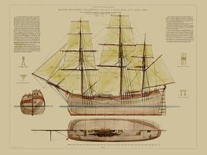 Antique Ship Plan VII by Vision Studio