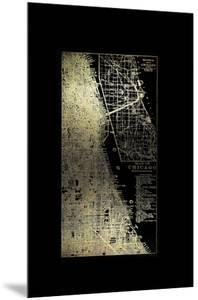 Gold Foil City Map Chicago on Black by Vision Studio