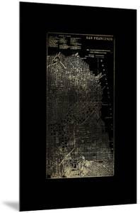 Gold Foil City Map San Francisco on Black by Vision Studio