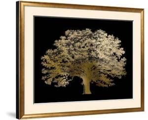 Gold Foil Elephant Tree on Black by Vision Studio