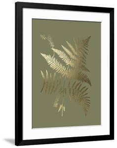 Gold Foil Ferns I on Mid Green by Vision Studio
