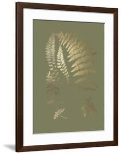 Gold Foil Ferns II on Mid Green by Vision Studio