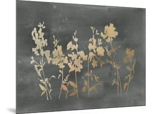 Gold Foil Flower Field on Black by Vision Studio