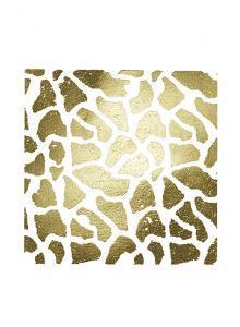 Gold Foil Giraffe Pattern on White by Vision Studio