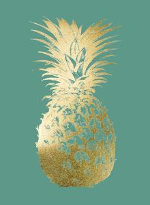 Gold Foil Pineapple I on Emerald by Vision Studio