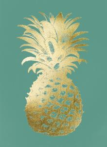 Gold Foil Pineapple II on Emerald by Vision Studio