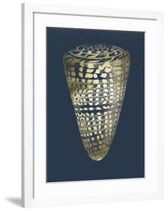 Gold Foil Shell I on Cobalt by Vision Studio