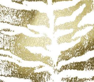Gold Foil Tiger Pattern on White by Vision Studio