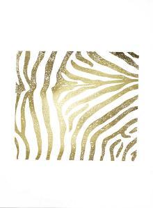 Gold Foil Zebra Pattern on White by Vision Studio