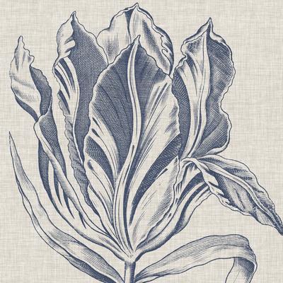 Indigo Floral on Linen I