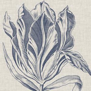 Indigo Floral on Linen I by Vision Studio