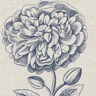 Indigo Floral on Linen III