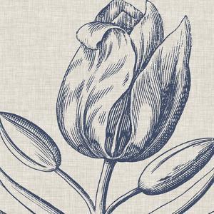 Indigo Floral on Linen IV by Vision Studio
