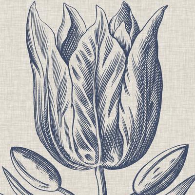 Indigo Floral on Linen VI