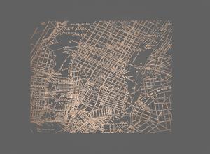 Rose Gold Foil Maps II on Dark Grey by Vision Studio