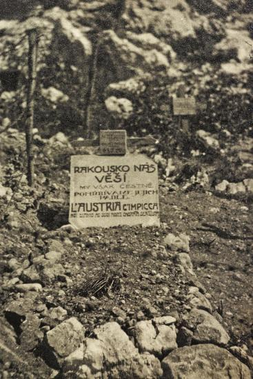 Visions of War 1915-1918: Cemetery in a War Zone with Inscription-Vincenzo Aragozzini-Photographic Print