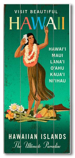 Visit Beautiful Hawaii--Wood Sign