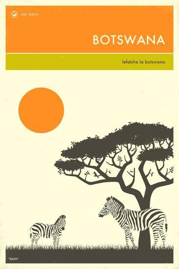 Visit Botswana-Jazzberry Blue-Art Print