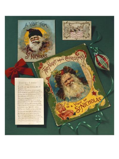 Visit from St. Nicholas, The First Commercial Christmas Greeting Card, London, c.1860--Giclee Print