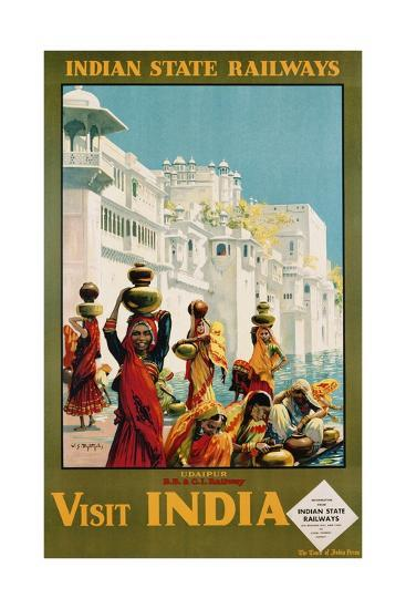 Visit India - Indian State Railways, Udaipur Poster-W^S Bylityllis-Giclee Print