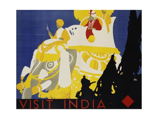 Visit India Poster-Tom Purvis-Giclee Print