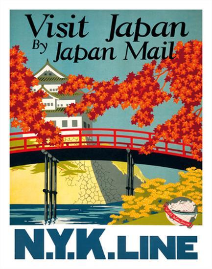 Visit Japan - by Japan Mail - N Y K  Line (Nippon Yusen Kaisha) Giclee  Print by Yoshi   Art com